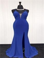 Spaghetti Straps Empire Sexy Split Pub Dress in Royal Blue Spandex