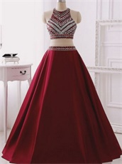 Pretty Burgundy Halter Floor Length Social Evening Dress Two Pieces