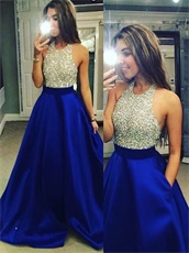 Cheap Halter Royal Blue Pocket Prom Dress Fully Beading Empire Waist