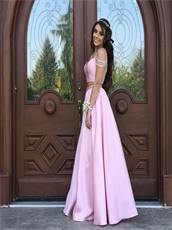 Two Part Sweetheart Pink Satin Long Girl Prom Dress See-Through Back