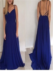 Lightsome Royal Blue Chiffon Long Graduation Dress Spaghetti Straps
