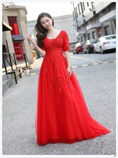 Sedate Half Sleeves Red Festive Prom Dress Large-scale Award Ceremony
