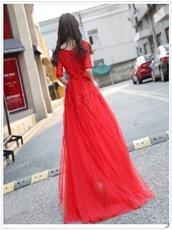 Sedate Half Sleeves Red Festive Prom Dress Large-scale Award Ceremony