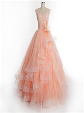 Blush Juniors Floor Length Formal Dress With Elastic Warped Hemline