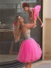 Lovely AB Crystals Short Hot Pink Prom Dress Young Mother