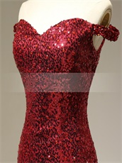 Dark Cherry Red Tulle Trumpet Evening Drinking Party Dress Sparkling Sequin