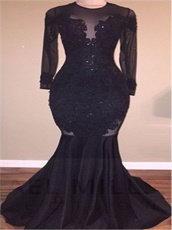 High Collar Mearmaid Black Sexy Evening Dress Appliques