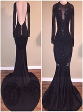 High Collar Mearmaid Black Sexy Evening Dress Appliques