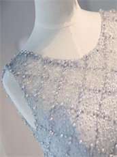 Lace Scoop Floor Length Silver Evening Dress With Rhomboid Pearl Craftwork