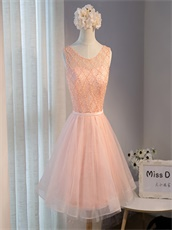 Puffy Tulle Knee Length Blush Homecoming Bridesmaids Dress Under 80