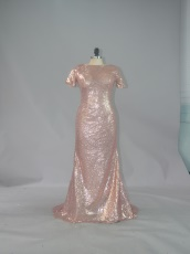 Sweep Train Blush Sparkling Sequin Prom Evening Dress Under 90