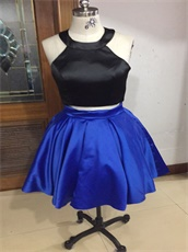 Knee Length Two Pieces Black Top/Royal Blue Skirt Show Waist Short Prom Dress