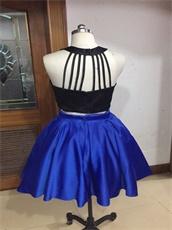 Knee Length Two Pieces Black Top/Royal Blue Skirt Show Waist Short Prom Dress