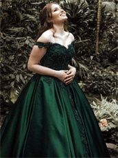 Deep Hunter Green Satin Brush Train Befitting Annual General Evening Prom Dress