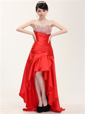 Not Expensive Shapely High Low Red Prom Dress Sweetheart