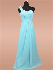 Empire Waist Exclusive Bridal Party Long Dress Aqua Chiffon