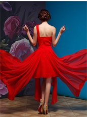 Single Rose Straps Homecoming Dress With Irregular Hemline Skirt