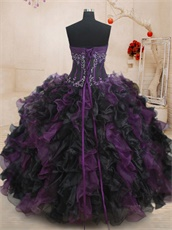 Four Pieces Purple and Black Match Detachable Military Court Ball Gown Wear Changeable