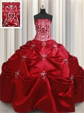 Featured Wine Red Satin Country Style Quinceanera Gown Silver Handwork Embroidery