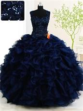 Dark Royal Blue Full Thick Ruffles Ball Gown Vestidos De Quinceanera