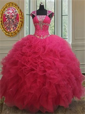 Square Double Straps Cover Shoulder Fuchsia Court Ball Gown Stores Near Me