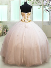 Sample Dress Picture White Mesh Flat Quinceanera Gown Gold Appliques China Factory