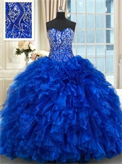 Beading and Ruffles Royal Blue Quinceanera Dress Can Made Same Style Dolls