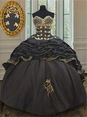 Western Village Black Taffeta Horse Head Embroidery Bubble Train Quinceanera Gown