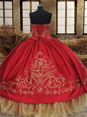 Western Red Destination Quinceanera Gown Embroidery Gold Organza Hemline