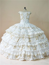 White Taffeta V-neck With Gold Embroidery Layers Skirt Quinceanera Spanish