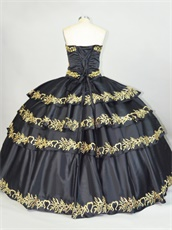 Cross Layers Skirt With Gold Embroidery Edge Girls Court Dance Dress Black