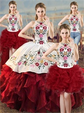 Embroideried Four-Pieces Unique Design Quinceanera Girls Wear White and Wine Red