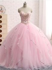 Lovely Pink Quince Puffy Dance Gown Girls Gift At Cheap Price
