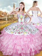 Layers Pink Ruffles With White Embroidery Upper Part Her Court Dress Western