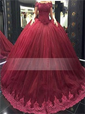 Portrait Puffy Skirt With Lace Border Decorate Quinceanera Cakes Burgundy