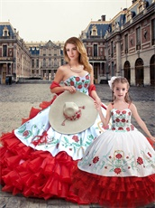 Embroidery White Quince Dress With Four-Layers Wave Red Skirt Ride Horse Package Sale