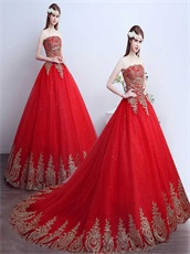 2019 Pretty Red Quinceanera Ball Gown Train With Gold Pineapple Appliques