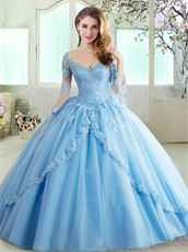 Light Blue Trumpet Long Sleeves Prom Puffy Dress For 16 Years Puberty Wear