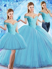 Three Pieces Detachable Quinceanera Dresses Including Short Skirt Changeable