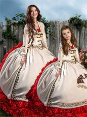 Western Embroidery Ivory and Red Ruffles Quince Ball Gowns Together For Adult and Girl