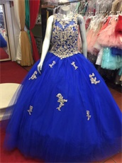 Royalty Blue Quinceanera Ball Gown With Sparkle Appliques and AB Crystal