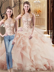 Changeable Blush Two Pieces Quinceanera Gowns Layers Skirt With Elastic Horsehair