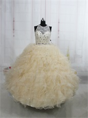 Two-Pieces Champagne Quinceanera Court Dress Lace Bodice Midriff Costume