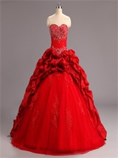 Discount Red Taffeta Bubble and Tulle Quinceanera Court Dress Lace