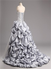 Custom Made Silver Taffeta Bubble Quinceanera Ball Gown With Sparkle Tulle