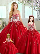 Quinceanera Series Collocation Sale Including Flower Gir and Doll Red Embroidery