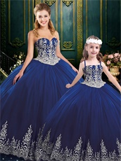 Adult and Girls Together Western Ball Gown Dark Royal Blue With Silver Embroidery