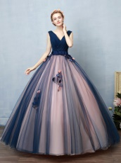 Blush Covered Navy Contrast Color Ingenious Design Ball Gown For Women