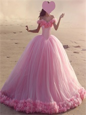 Handmade 3D Flowers Tulle Luxury Quinceanera Gift Gown Cute Pink