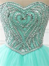 2018 VIP Customized Silver Rhinestones Floor Length Ball Dresses Aqua Mint